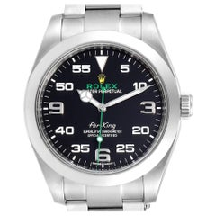 Rolex Oyster Perpetual Air King Green Hand Steel Men's Watch 116900