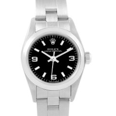 Rolex Oyster Perpetual Black Dial Oyster Bracelet Ladies Watch 76080
