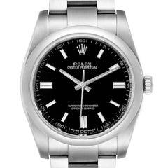 Rolex Oyster Perpetual Black Dial Steel Mens Watch 116000 Unworn