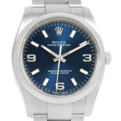 Rolex Oyster Perpetual Blue Dial Oyster Bracelet Men's Watch 114200 Box Papers