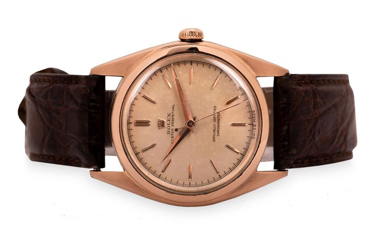 Men's Rolex Oyster Perpetual Bubbleback Vintage Gents 18 Karat Gold Silver Dial 5048 For Sale