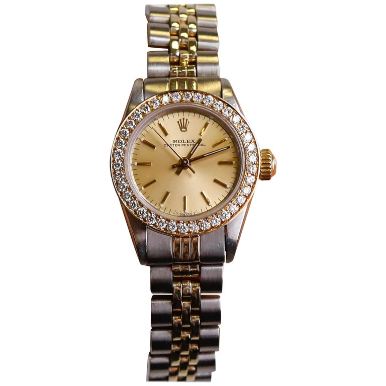Rolex Oyster Perpetual Champagne Color Dial Diamond Wristwatch For Sale