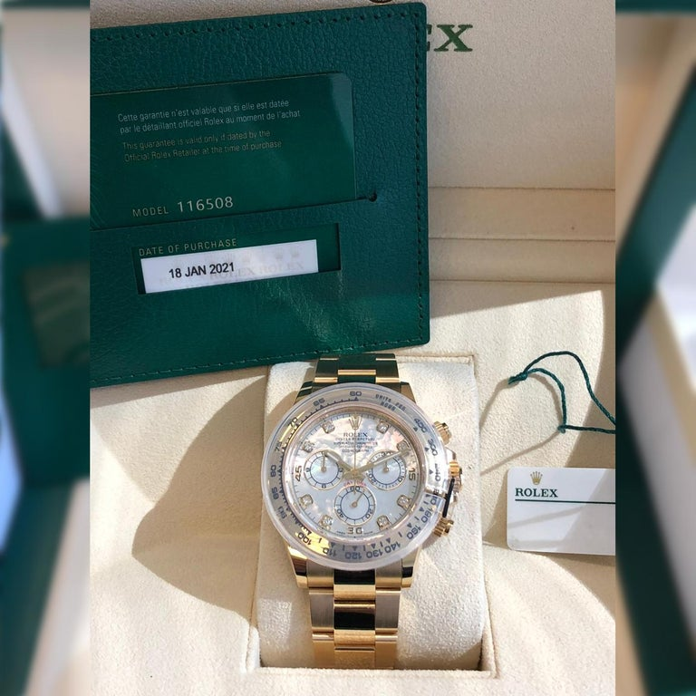 Rolex Oyster Perpetual Cosmograph Daytona 40 Yellow Gold Mother of Pearl Diamond For Sale 4