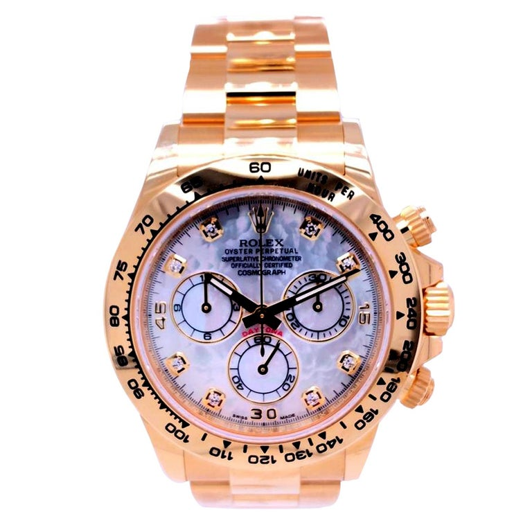 Round Cut Rolex Oyster Perpetual Cosmograph Daytona 40 Yellow Gold Mother of Pearl Diamond For Sale