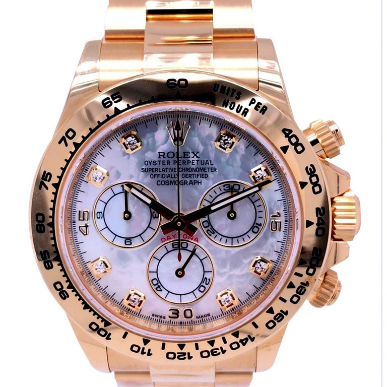 Rolex Oyster Perpetual Cosmograph Daytona 40 Yellow Gold Mother of Pearl Diamond In New Condition For Sale In Aventura, FL