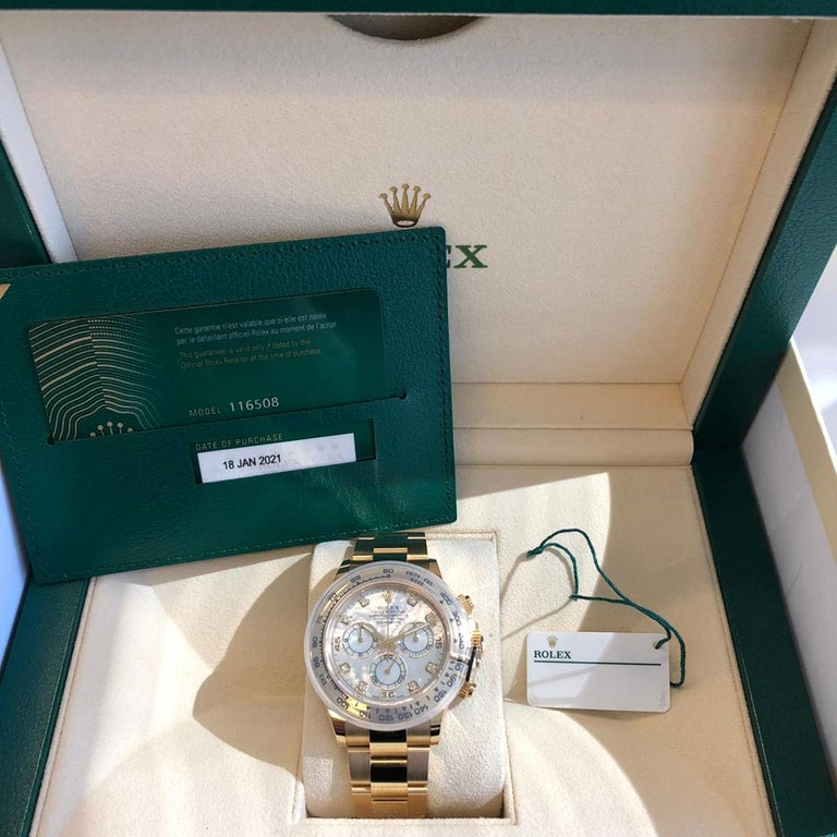 Rolex Oyster Perpetual Cosmograph Daytona 40 Yellow Gold Mother of Pearl Diamond For Sale 3