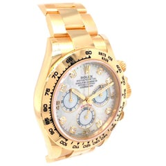 Rolex Oyster Perpetual Cosmograph Daytona 40 Yellow Gold Mother of Pearl Diamond