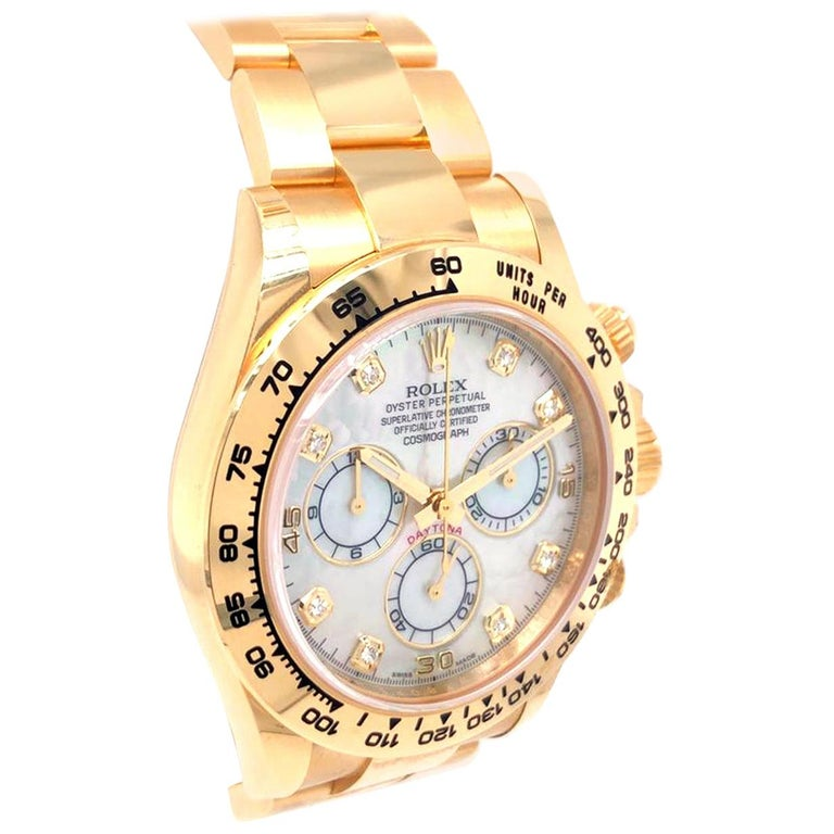 Rolex Oyster Perpetual Cosmograph Daytona 40 Yellow Gold Mother of Pearl Diamond For Sale