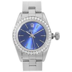 Rolex Oyster Perpetual Custom Diamond Bezel Steel Blue Dial Ladies Watch 67194