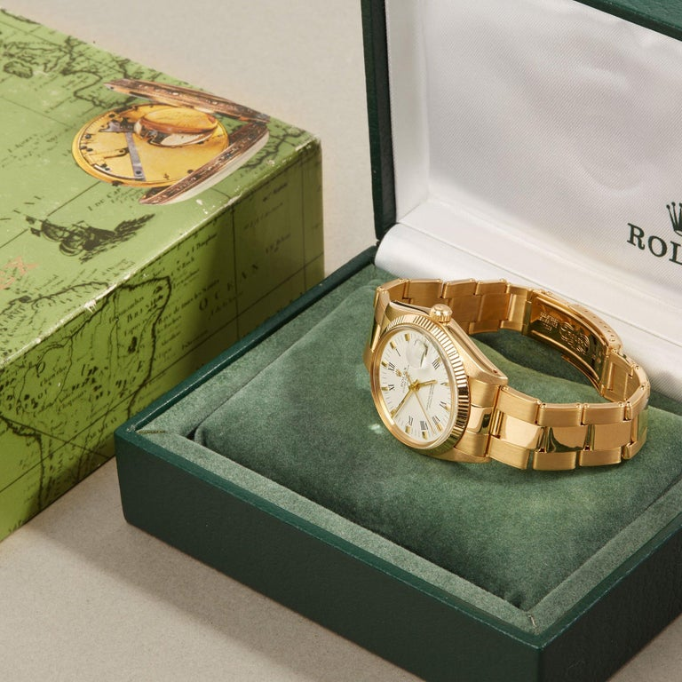 Rolex Oyster Perpetual Date 1503 Unisex Yellow Gold Watch For Sale 6