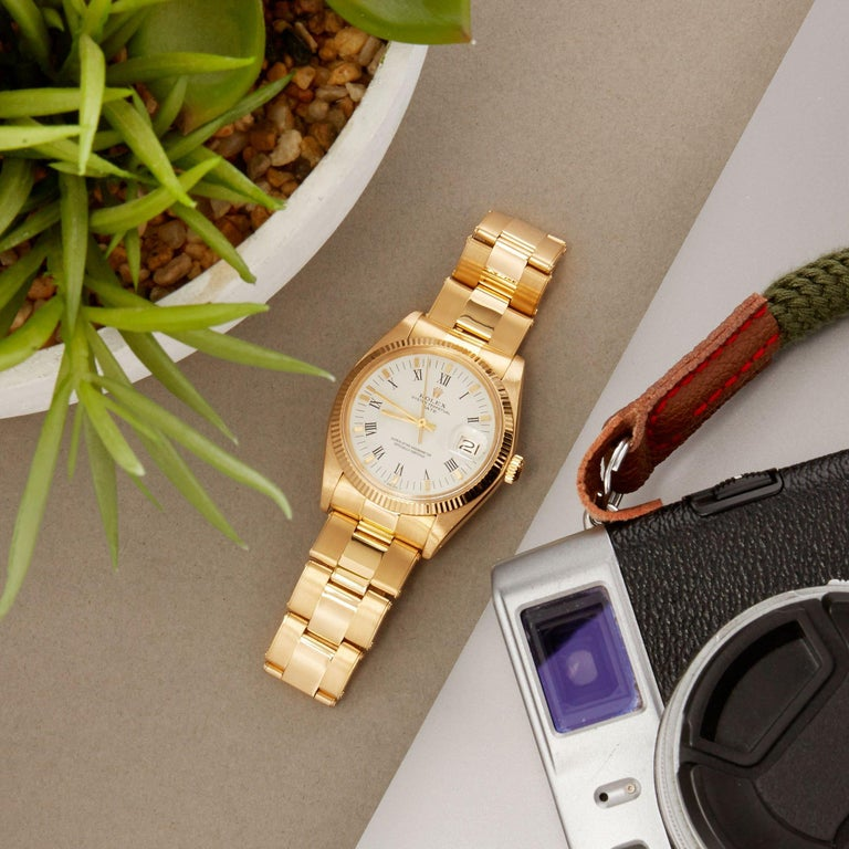 Rolex Oyster Perpetual Date 1503 Unisex Yellow Gold Watch For Sale 7