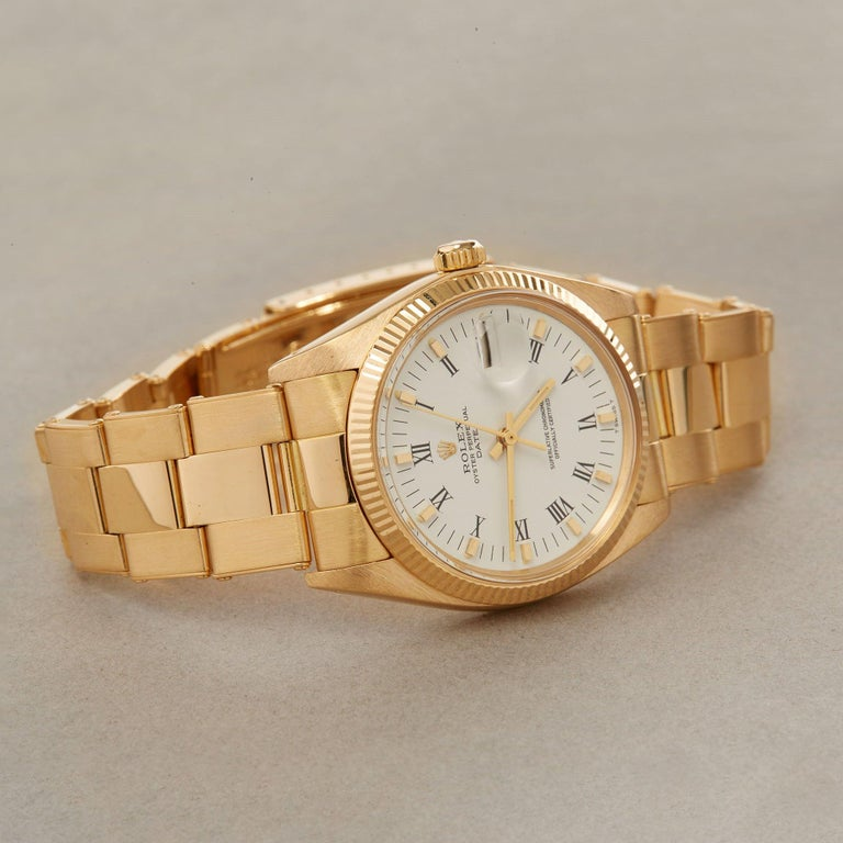 Rolex Oyster Perpetual Date 1503 Unisex Yellow Gold Watch For Sale 1