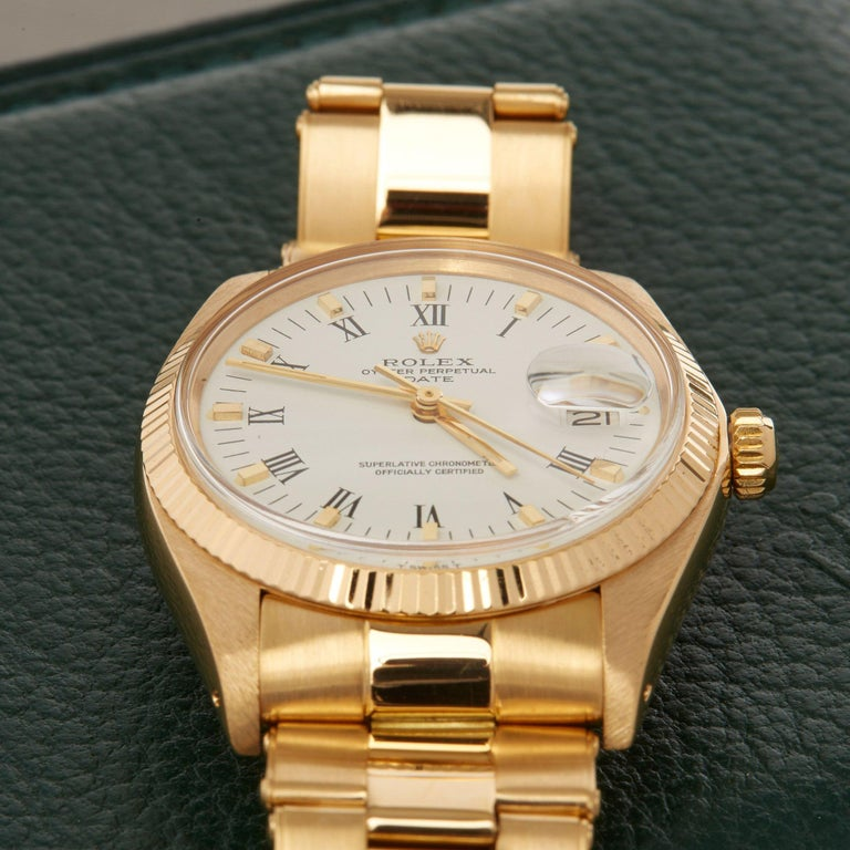 Rolex Oyster Perpetual Date 1503 Unisex Yellow Gold Watch For Sale 4