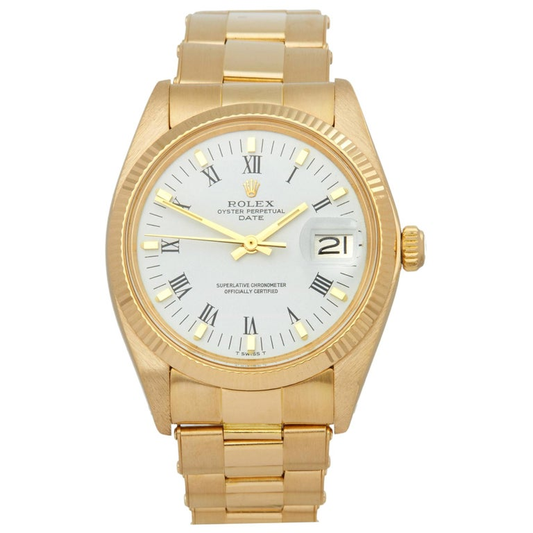 Rolex Oyster Perpetual Date 1503 Unisex Yellow Gold Watch For Sale
