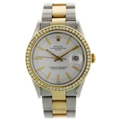 Rolex Oyster Perpetual Date 15053 Two-Tone Diamond Bezel