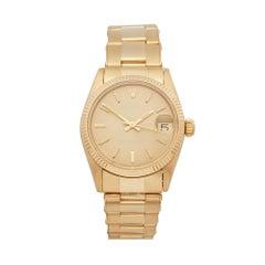 Rolex Oyster Perpetual Date 31 18 Karat Yellow Gold 6824