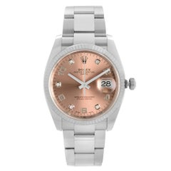 Rolex Oyster Perpetual Date Steel Salmon Dial Automatic Watch 115234
