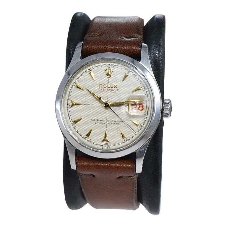 Modern Rolex Oyster Perpetual Date All Original with Rare Waffle Dial from 1954 For Sale