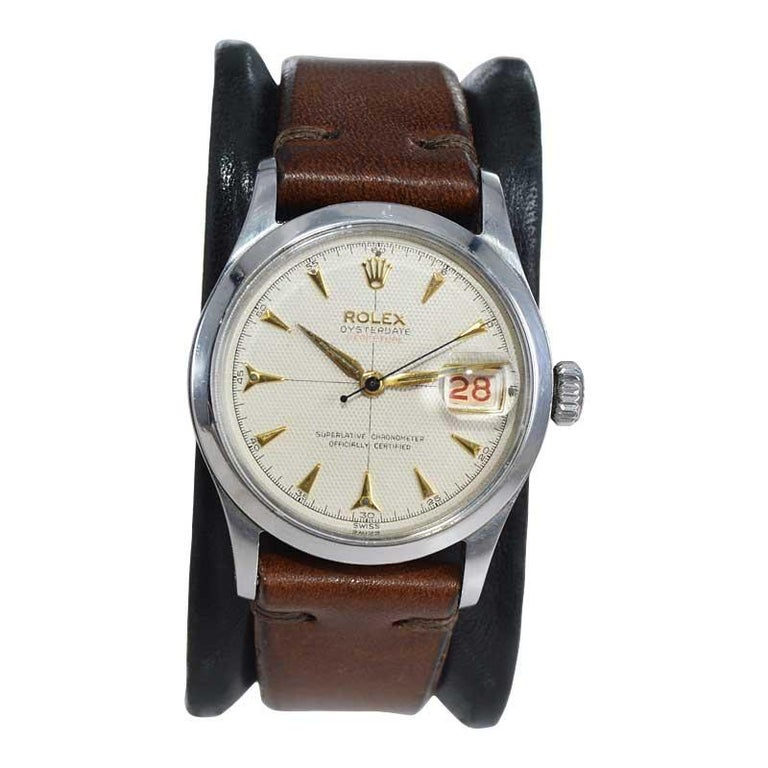 Rolex Oyster Perpetual Date All Original with Rare Waffle Dial from 1954 In Excellent Condition For Sale In Long Beach, CA