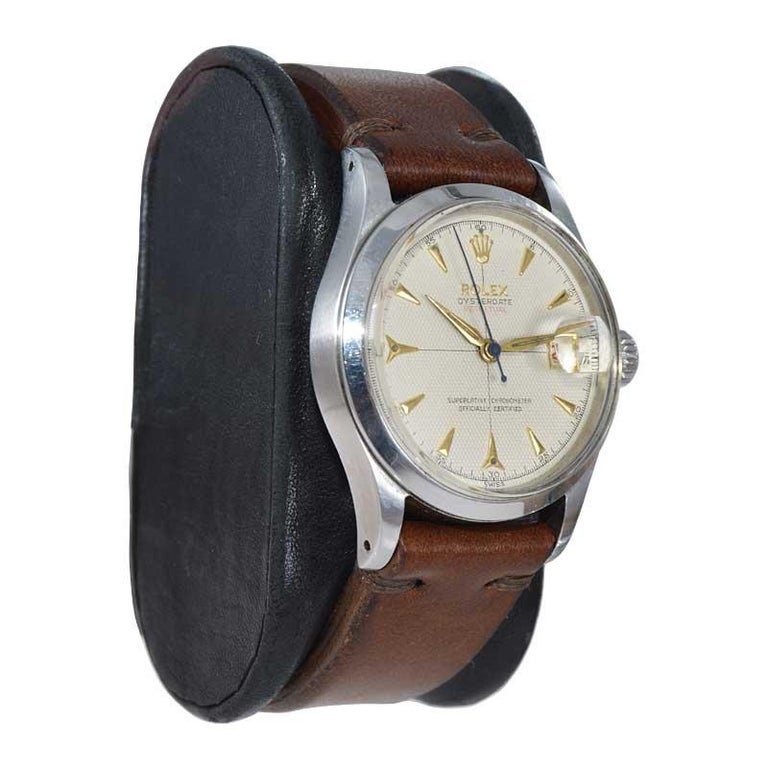 Women's or Men's Rolex Oyster Perpetual Date All Original with Rare Waffle Dial from 1954 For Sale