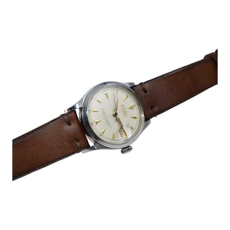 Rolex Oyster Perpetual Date All Original with Rare Waffle Dial from 1954 For Sale 2