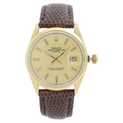 Rolex Oyster Perpetual Date Gold Cap Steel Champagne Dial Mens Watch 15505