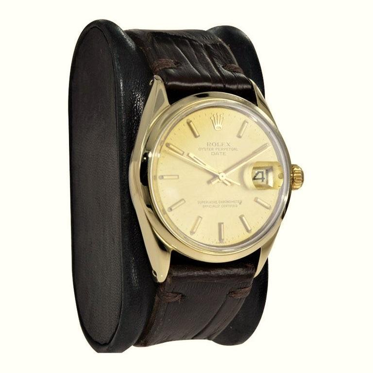 Modernist Rolex Oyster Perpetual Date Gold Shell Series in New Condition, circa 1972 For Sale