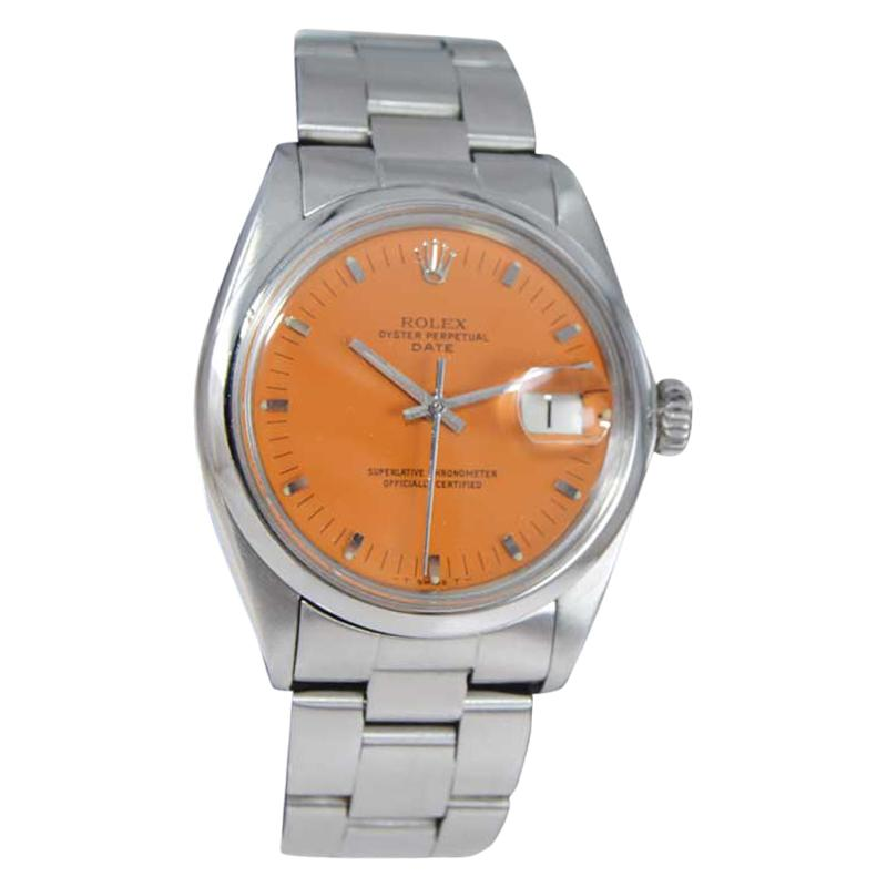 Rolex Steel Oyster Perpetual Date Custom Finished Orange Dial from 1974
