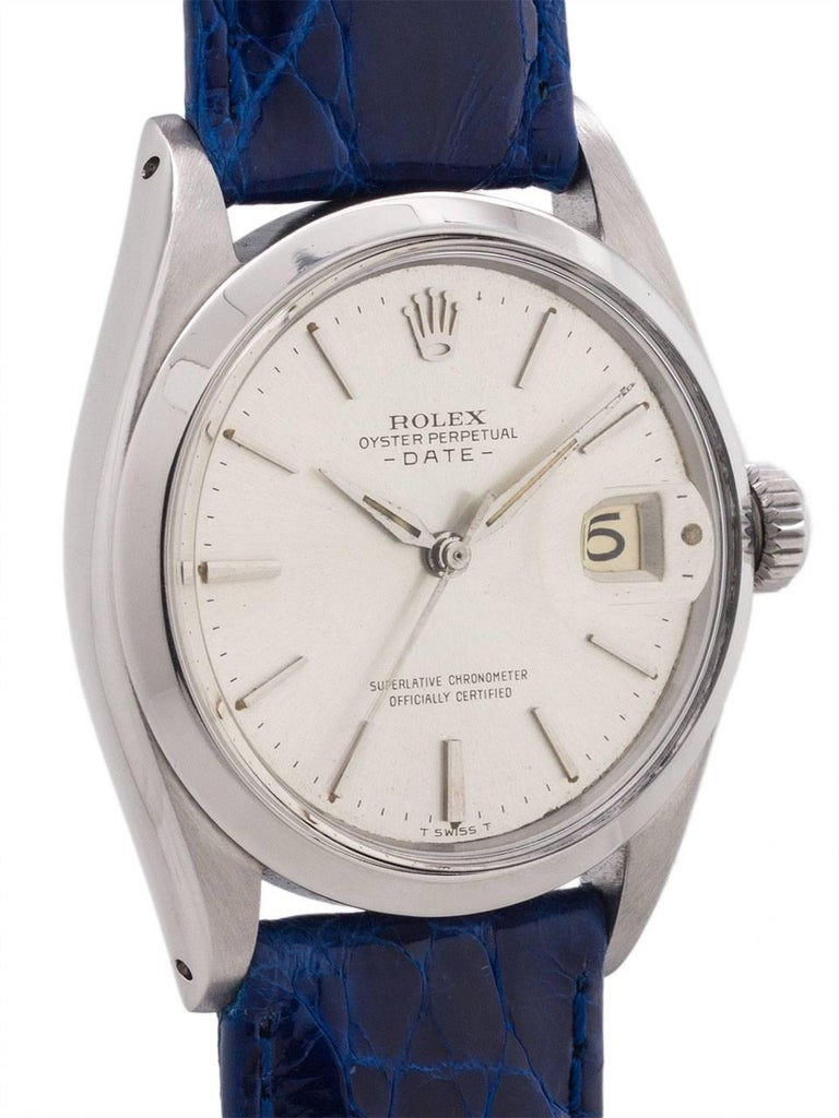 Rolex Stainless Steel Oyster Perpetual Date ref# 1500 serial #939,000 million circa 1962. Featuring a 34mm diameter Oyster case with smooth bezel and acrylic crystal and mint condition silvered dial with fine applied hour indexes, and early style