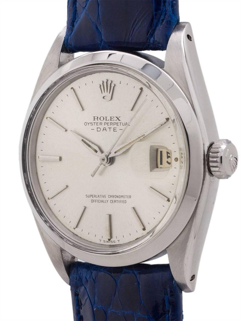 Rolex Stainless Steel Oyster Perpetual Date Self Winding Wristwatch, c1962 In Excellent Condition For Sale In West Hollywood, CA