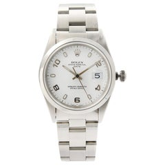 Rolex Oyster Perpetual Date Steel White Arabic Dial Automatic Unisex Watch 15200