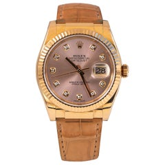 Rolex Oyster Perpetual Datejust 18 Karat Rose Gold 10 Diamonds Dial Alligator