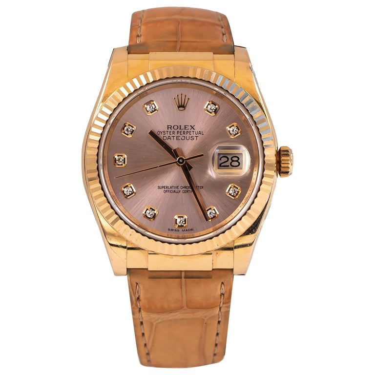 Rolex Oyster Perpetual Datejust 18 Karat Rose Gold 10 Diamonds Dial Alligator For Sale