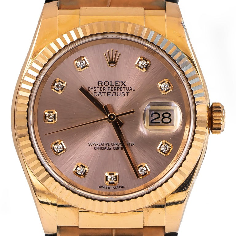 Mixed Cut Rolex Oyster Perpetual Datejust 18 Karat Rose Gold 10 Diamonds Dial Alligator For Sale