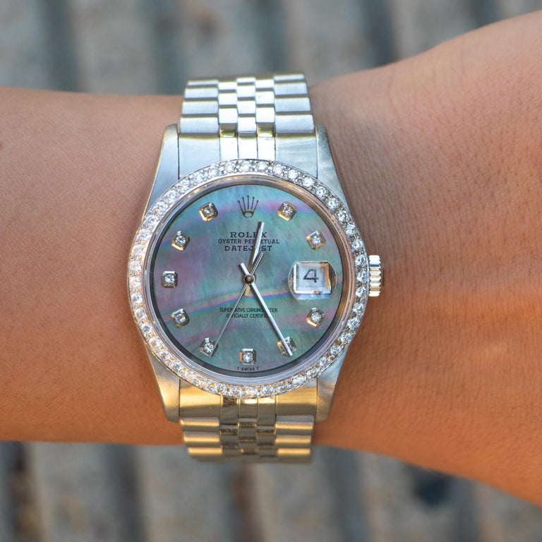 Round Cut Rolex Oyster Perpetual Datejust Mother of Pearl Dial 54 Diamonds Factory For Sale