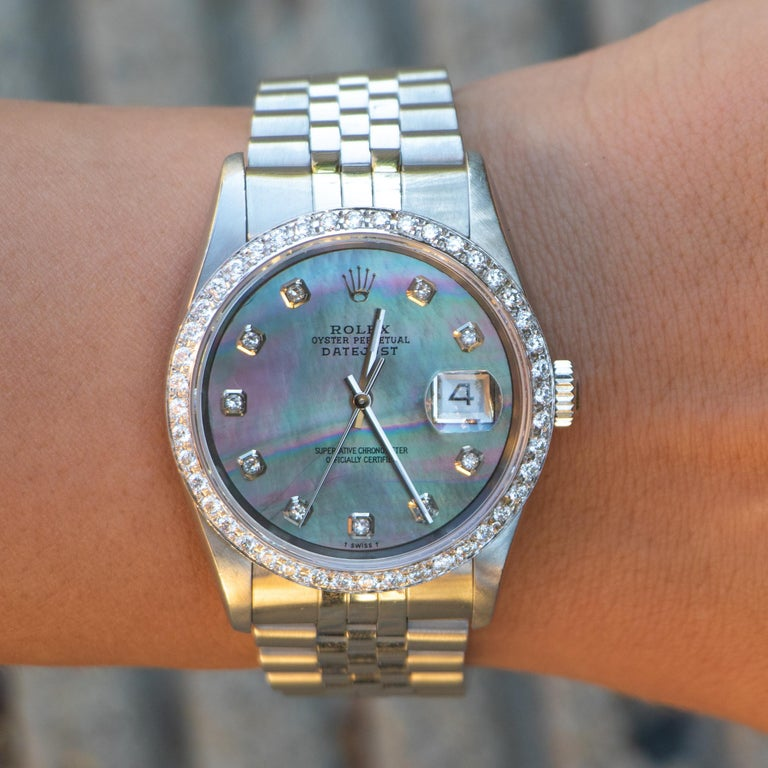 Women's or Men's Rolex Oyster Perpetual Datejust Mother of Pearl Dial 54 Diamonds Factory For Sale