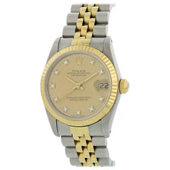 Rolex Oyster Perpetual Datejust 68273 Diamond Dial Watch Box and Papers
