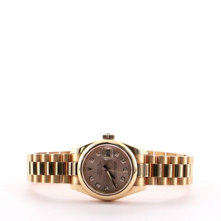 Women's or Men's Rolex Oyster Perpetual Datejust Automatic Watch Rose Gold with Diamond Markers26 For Sale