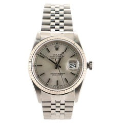 Rolex Oyster Perpetual Datejust Automatic Watch Stainless Steel and White