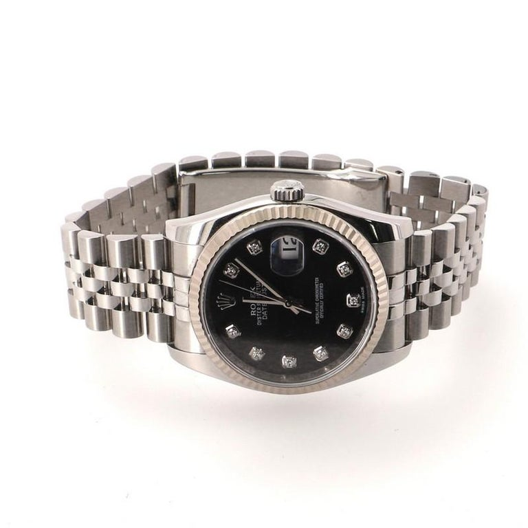Rolex Oyster Perpetual Datejust Automatic Watch Stainless Steel and White Gold In Good Condition For Sale In New York, NY