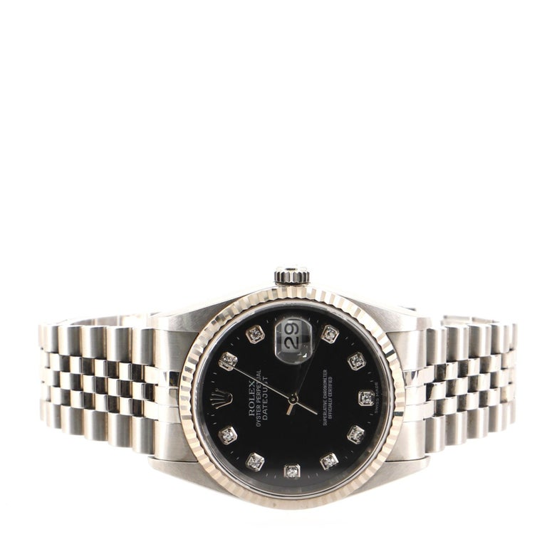 Women's Rolex Oyster Perpetual Datejust Automatic Watch Stainless Steel and White Gold For Sale
