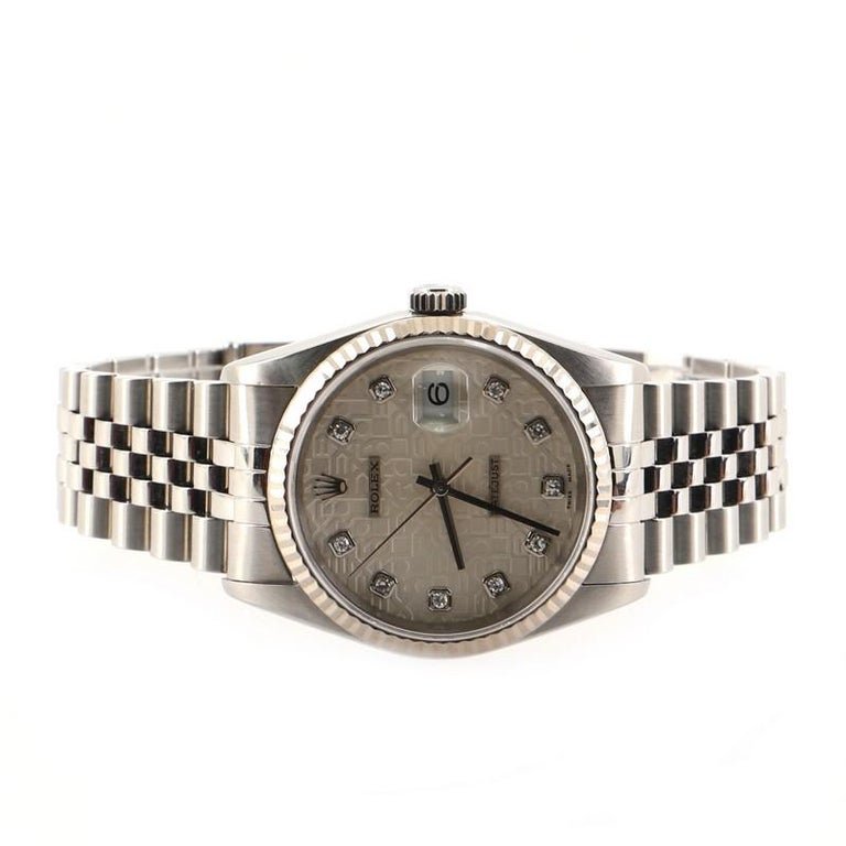 Women's or Men's Rolex Oyster Perpetual Datejust Automatic Watch Stainless Steel and White Gold