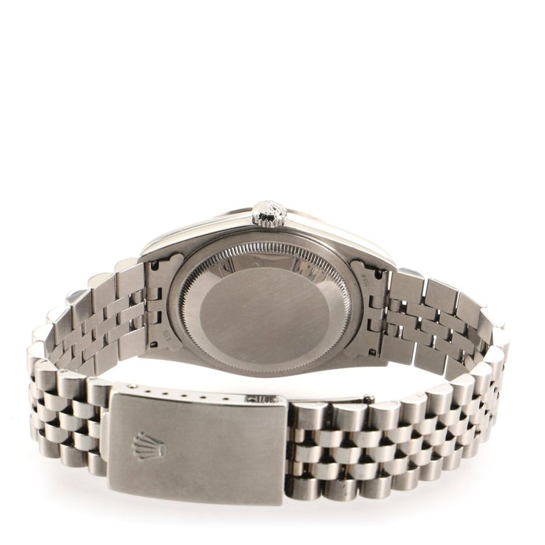 Rolex Oyster Perpetual Datejust Automatic Watch Stainless Steel and White Gold For Sale 2