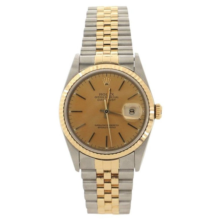 Rolex Oyster Perpetual Datejust Automatic Watch Stainless Steel and Yellow Gold