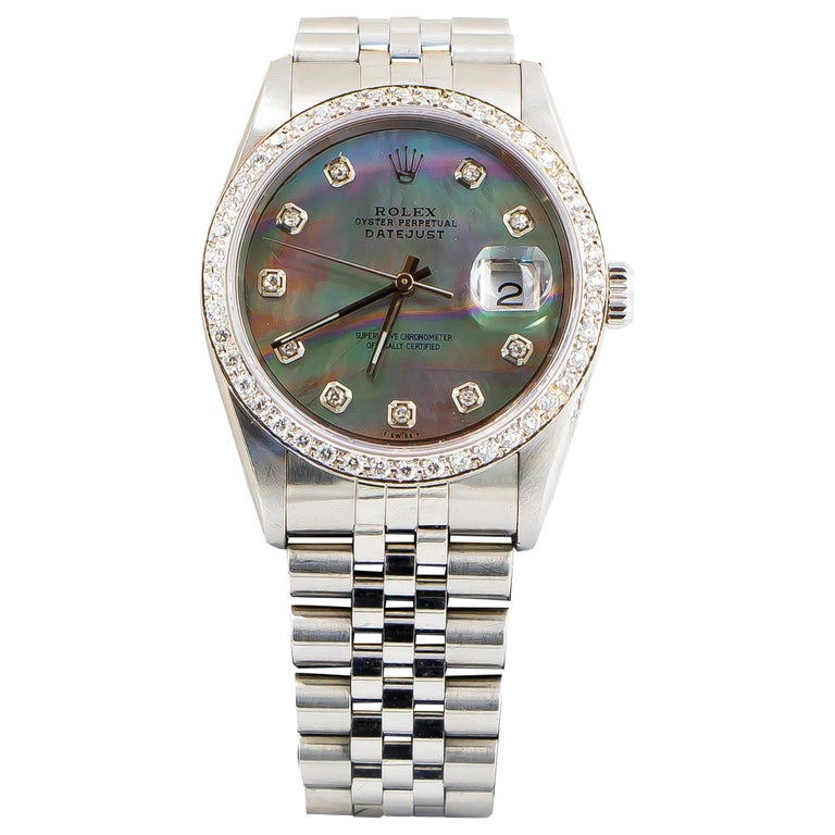 Rolex Oyster Perpetual Datejust Mother of Pearl Dial 54 Diamonds Factory For Sale