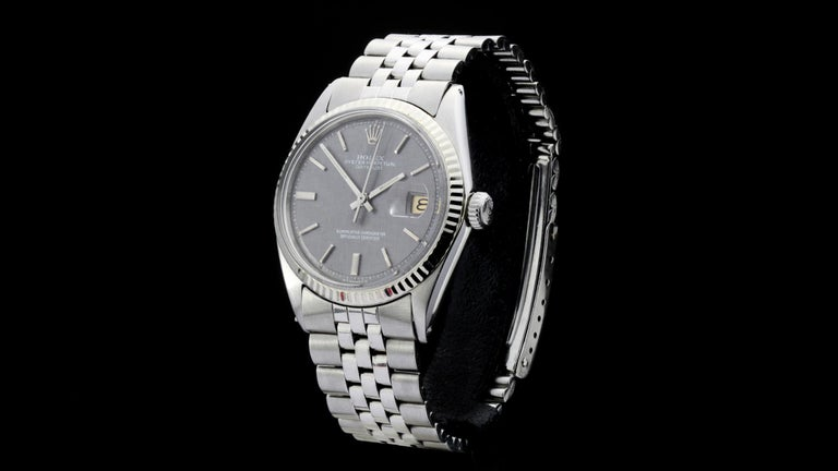 Rolex Oyster Perpetual DateJust rare grey dial Ref 1603  Gender:  Men Year: Circa 1970's Model : Oyster Perpetual DateJust Case Diameter : 36 mm Movement: Automatic Watchband Material: Stainless Steel Case material : Stainless Steel Display Type: