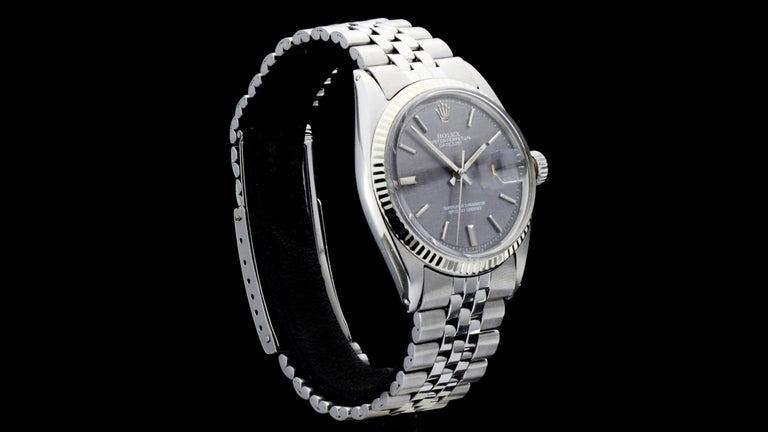 Rolex Oyster Perpetual DateJust Rare Grey Dial Ref 1603 In Good Condition For Sale In Braintree, GB
