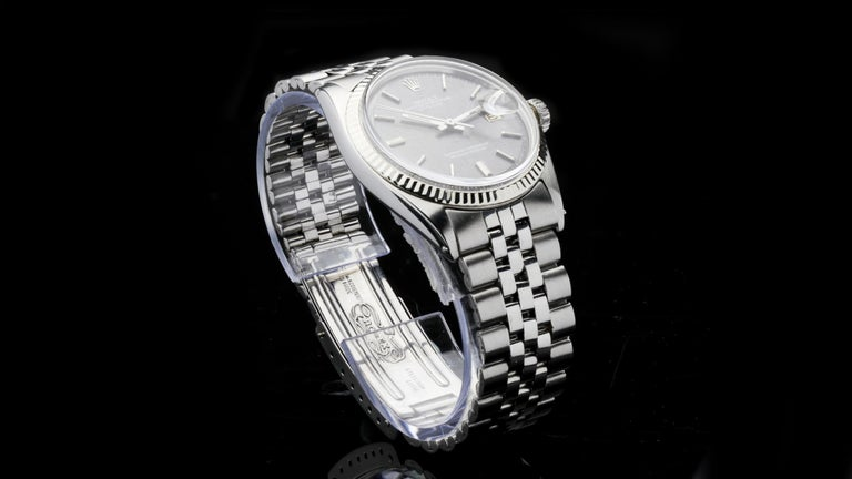 Men's Rolex Oyster Perpetual DateJust Rare Grey Dial Ref 1603 For Sale