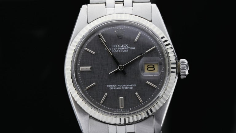 Rolex Oyster Perpetual DateJust Rare Grey Dial Ref 1603 For Sale 2