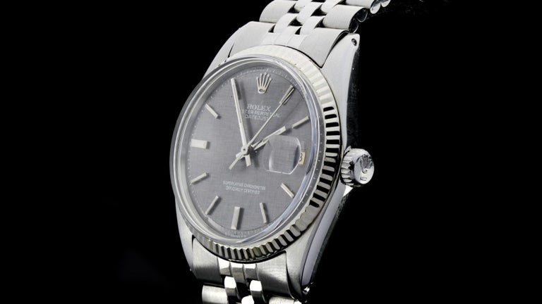 Rolex Oyster Perpetual DateJust Rare Grey Dial Ref 1603 For Sale 3